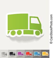 realistic design element. delivery van - delivery van paper...