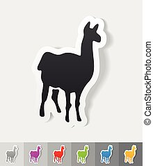 realistic design element lama - lama paper sticker with...