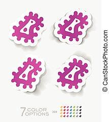 realistic design element. microbe - microbe paper sticker...
