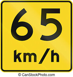 Speed Limit 65 Kmh In Canada - A road sign in Canada - Speed...