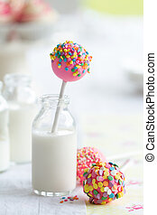 Cake pops - Colorful cake pops and milk