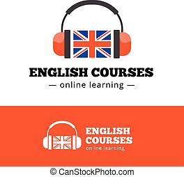 Vector english courses logo concept with british flag and headphones