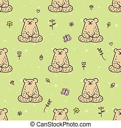 Vector cute yoga bear seamless pattern. Meditating animal in...
