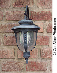 Front view of lamp on the wall