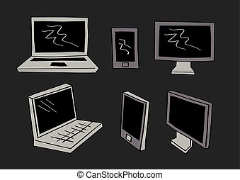 Computer Laptop and Mobil Phone Icons in Cartoon Style -...