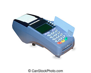 POS terminal and credit card processing isolated over white...
