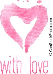 Painted pink heart, vector element for your design. With love sign