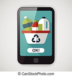 Environmental protection concept flat icon with long...