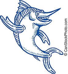blue marlin waving hello - cartoon illustration of a blue...