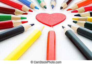 Decorative heart and pencils