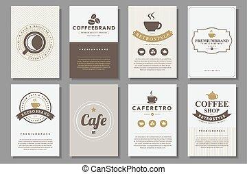 Set of coffee brochures in vintage style