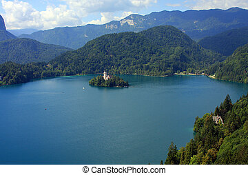 Lake Bled - View from the top on the lake Bled and island...