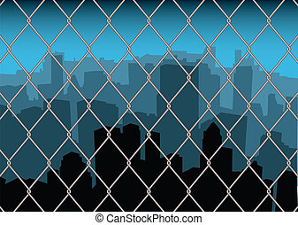 city behind fence