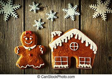 Christmas gingerbread girl and house cookies - Christmas...