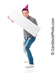 Young man - Funny man in birthday cap holding white board...