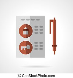 Flat color housing agreement vector icon - Document and pen....