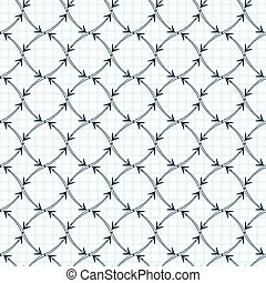 Vector seamless pattern of arrows on graph paper