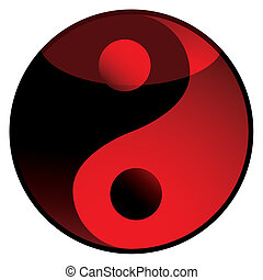 ying yang shadow red - Red and black ying yang logo with...