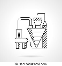 Waste recycling factory line vector icon - Plants and...