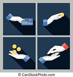 Set of four vector icons with hands holding the coins