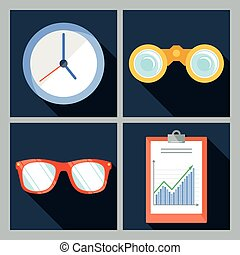 Set of four vector icons with the clock, binoculars,...