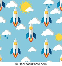 Bright seamless pattern with rockets, clouds and sun drawn...