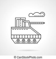Military robot flat line vector icon - Unmanned military...