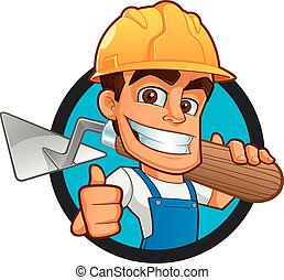 Bricklayer - Sympathetic bricklayer dressed in work clothes,...