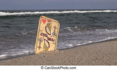 Old king of hearts card by the sea - Old playing card king...