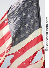 Old Glory - Battle-damaged Union flag at a Civil War...