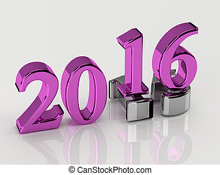 3d numbers. 2016 new year over 2015 - 3d numbers of New Year...