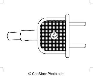 vintage, electric plug - outline illustration of vintage,...