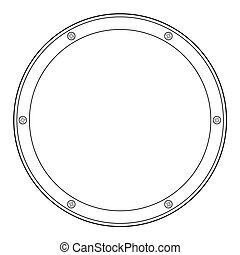 porthole, detail of yacht - outline illustration of...