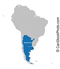 map of South America with indication of Argentina
