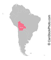 map of South America with indication of Bolivia