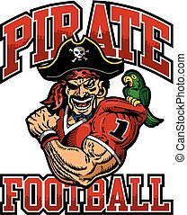 pirate football team design with muscular pirate mascot