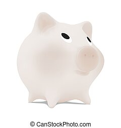 piggy bank - Monochrome piggy bank. Isolated on white