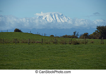 Volcano in Rural Chile - Snow capped volcano Calbuco...