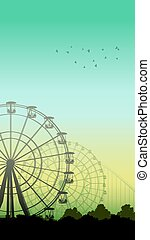 Roller-coaster and Ferris Wheel - Vertical illustration of...