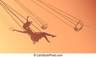Silhouette girl on swing at sunset - Vector horizontal...