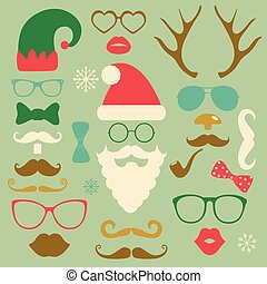 Christmas Colorful Fashion Silhouette Set Hipster Style -...