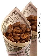 Coffee - Portion of grains of coffee in a banknote of the...