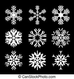 Set of black snowflakes