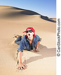 Young Man Wearing Sunglasses and Bandana - Young man in...