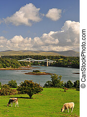 Menai Bridge Anglesey in North Wales - Famous brdige in...