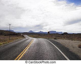 Two Lane Road Through Desert Countryside - Two lane road...