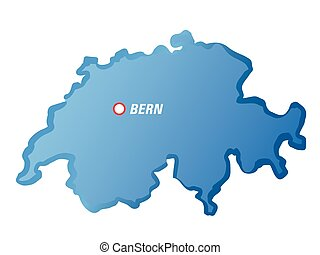 drawing map of Switzerland and Bern - Vector Illustration.