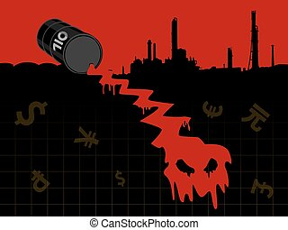 Energy201509_Crude oil price fall down abstract illustration with red leaked oil from barrel to earth with refinery plant
