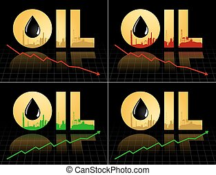 Crude oil price fall down abstract illustration with refinery plant barrel and diagram