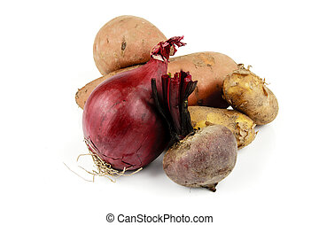 Sweet Potato with Beetroot, Onion and Potatoes - Two raw...